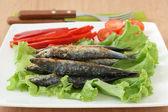 Fried sardines — Stock Photo