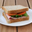 Sandwich with ham — Stock Photo