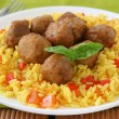 Meatballs with rice - Stock Photo