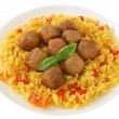 Meatballs with rice — Stock Photo