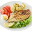 Fried fish with potato and salad — Stock Photo #8052438