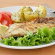 Fried fish with potato and salad — Stock Photo #8052449