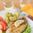 Fried fish with potato and salad — Stock Photo #8052463