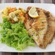 Fried fish with salad - Stock Photo