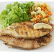 Fried fish with salad - Stok fotoraf