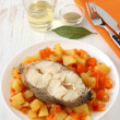 Boiled fish and vegetables with glass of wine — Stock Photo