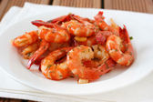 Shrimps with sauce — Stock Photo