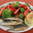 Fried sardines with lemon and salad — Stock Photo #8096083