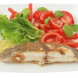 Stock Photo: Fried fish with salad