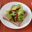 Toast with ham and lettuce — Stock Photo