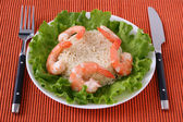 Shrimps with rice — Stock Photo