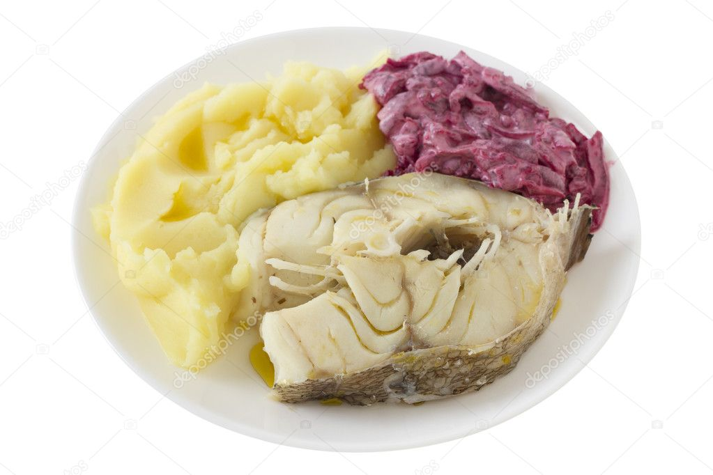 Boiled fish with mashed potato and beet salad — Stock Photo #8345119