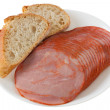 Ham with bread on the plate - Lizenzfreies Foto