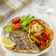 Fried swordfish with vegetables — Stock Photo #8801643