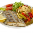 Fried swordfish with vegetables — Stock Photo #8883270