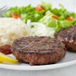 Royalty-Free Stock Photo: Grilled hamburger with rice and salad