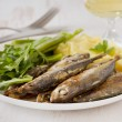 Fried sardines with mashed potato and green beans — Stock Photo