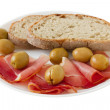 Stock Photo: Prosciutto with bread on plate