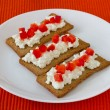 Toasts with cottage cheese and red pepper — Stock Photo