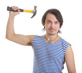 Handsome man with hammer. Isolated on white background — Stock Photo