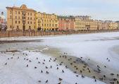 Winter Urban view, river Fontanka in St. Petersburg, Russia — Stock Photo
