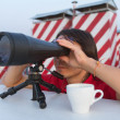 Man with binoculars on the roof — Stock Photo #10614220