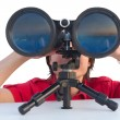 Man with binoculars isolated on white — Stock Photo