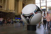 The official matchball of EURO 2012 POLAND - UKRAINE, on the Cen — Foto de Stock