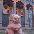 Lion sculpture in front of Saint-Petersburg Buddhist Temple Gunz — Stock Photo