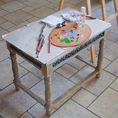 Tillbehör för målning på bordet — Stockfoto