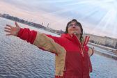 člověk sní létat na větry — Stock fotografie
