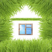 Conceptual green grass house isolated on white — Stock Photo