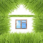 Beyaz izole kavramsal yeşil çim ev — Stok fotoğraf