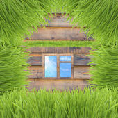 Conceptual green grass house on wooden background — Stock Photo