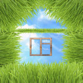 Conceptual Green Grass House On Sky Background — Stock Photo