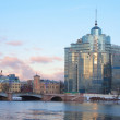 Sampsonievsky bridge and Modern building in St.Petersburg, Russi — Stock Photo