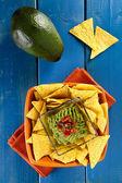 Nachos with guacamole — Stock Photo