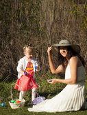Toddler on Easter Egg Hunt — Stock Photo
