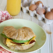 Croissant Breakfast Sandwich — Stock Photo