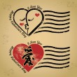 图库矢量图片: Vector: Stamp happy valentine's day and i love you on kraft paper