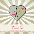 Vector de stock : Abstract one heart from two faces,Symbol of love,for valentine