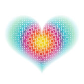 """love"" word characters on gradient rainbow heart shape backgroun — Stock Vector"