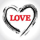 Caligrafia e desenhou o coração. ilustração do conceito abstrato amor. — Vetorial Stock