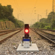 Stock Photo: Antiquity railway and signal lamp