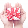 Gift on the hand — Stock Photo