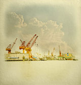 Large crane in harbor on White Paper fine Texture — Stock Photo