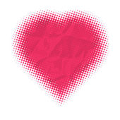Valentines day card, vector illustration, halftone heart dots — Stock Vector