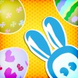 Happy easter greeting card ,  bunny painted eggs — Imagen vectorial