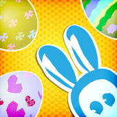 Happy easter greeting card , bunny painted eggs — Stock Vector