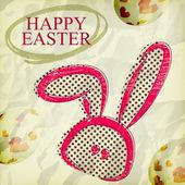 Tarjeta de felicitación de Pascua feliz Grunge, huevos de conejo — Vector de stock